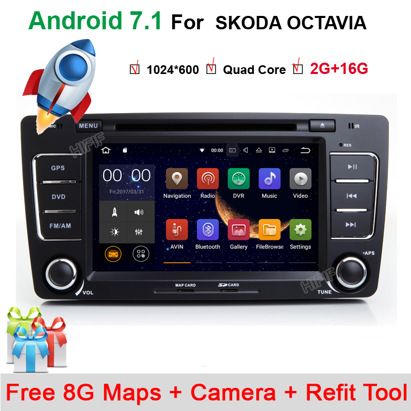 2Din For Skoda Octavia 2 Steering-Wheel Android Car DVD Multimedia Video Player GPS Navigation Touch Screen mp3 bluetooth