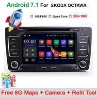 2Din For Skoda Octavia 2 Steering Wheel Android Car DVD Multimedia Video Player GPS Navigation Touch Screen mp3 bluetooth