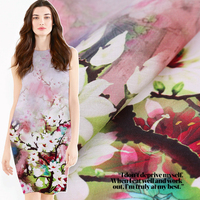 Peach Blossom Silk Linen Fabric Printing Silk Cloth Dress Material Sewing By The 1.18 Meters