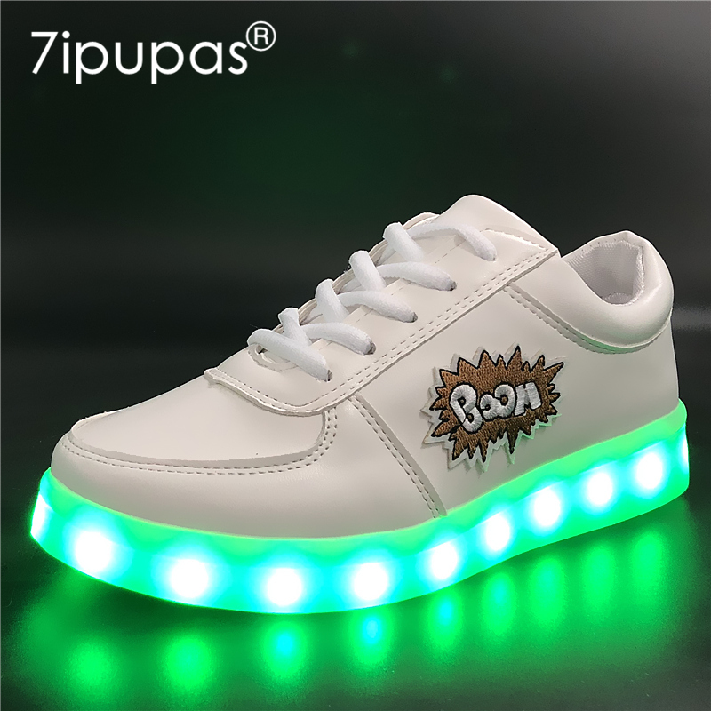 7ipupas EUR 30-44 DIY Led Lighting Shoes for Boys/Girls Glowing Sneakers with Embroidery sticker illuminated Luminous Sneaker