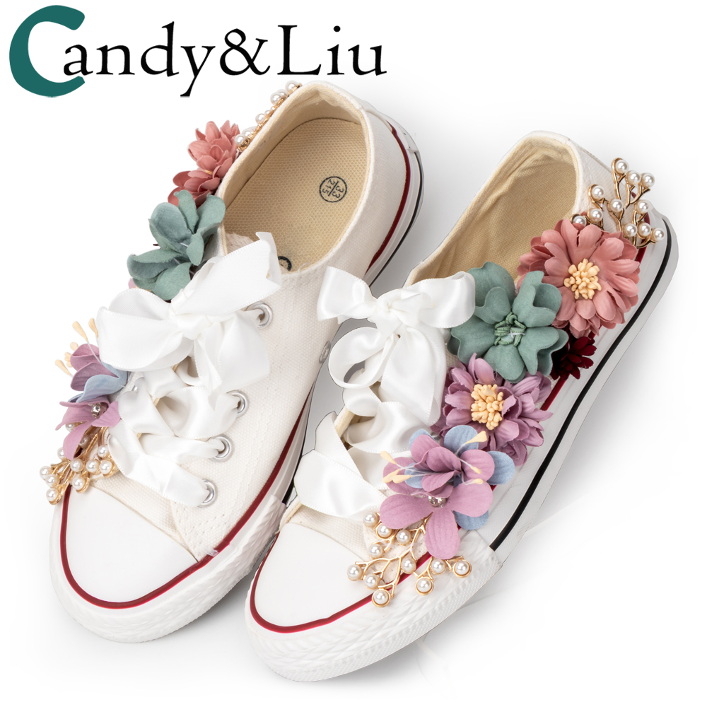 Women Sneakers Summer Canvas Shoes White Ribbon Strap Sew Colorful Flowers Pearl Diamond Ribbon Thick-soled Flat Students