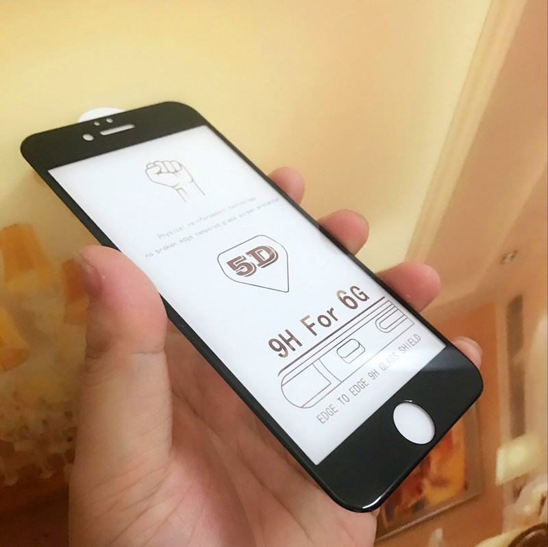 100pcs DHL For iPhone 7 8 6 Plus 5D Tempered Glass Curved Edge Full Cover For