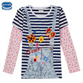 Bebé falsos dos piezas chicas camisetas nova marca t camisas camisas de manga larga de otoño camisetas de la raya niño niño niños ropa