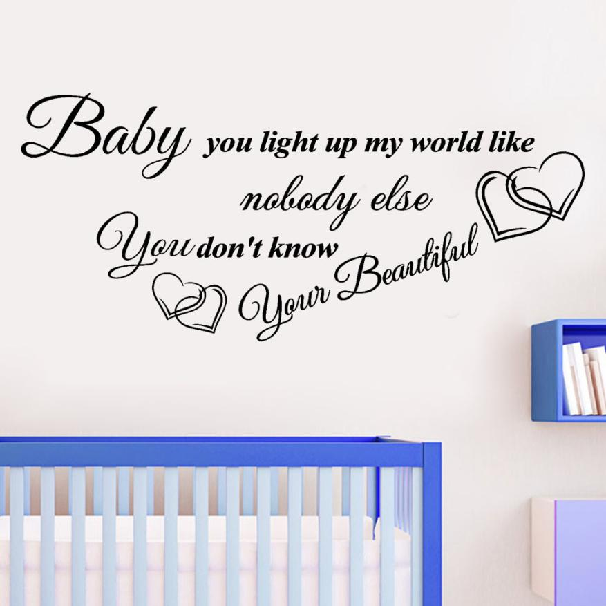 Home decoration Baby You Light Up My World Like Removable Art Vinyl Mural Home Room Decor Kids Rooms Wall Stickers Mar26