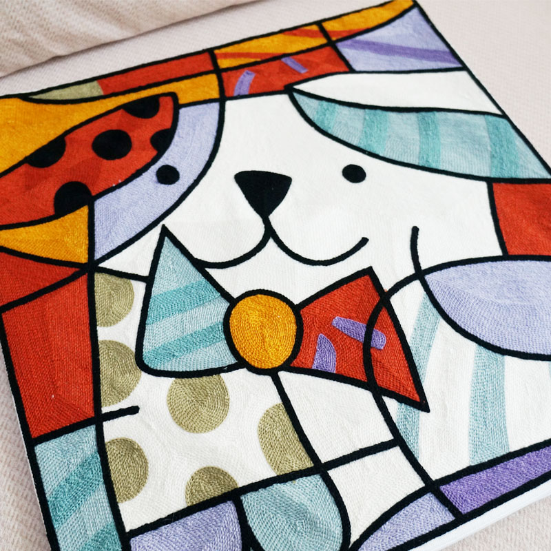 Abstract Dog Embroidered Square Pillow Cover Art Painting Cushion ...