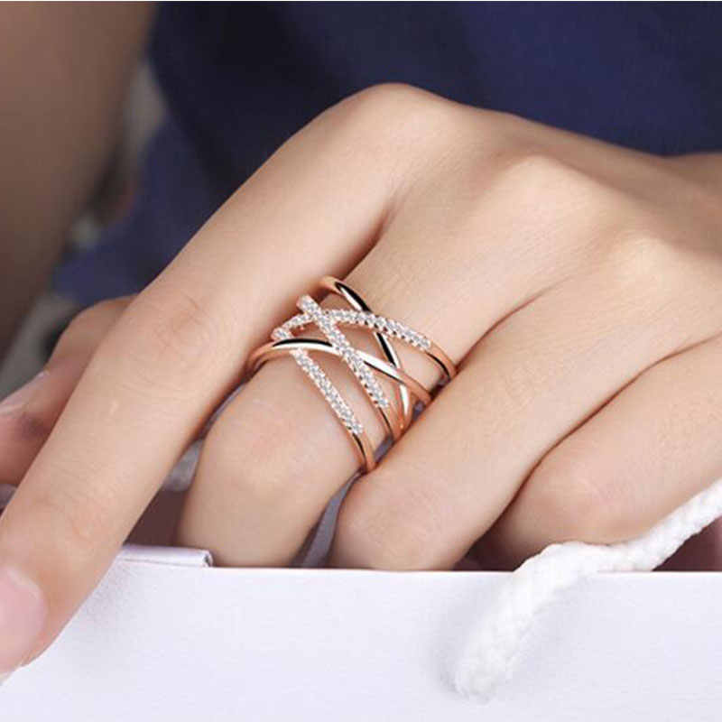 Anenjery Korean Style 925 Sterling Silver Opening Rings Multi-layer Line Cross Mosaic Zircon Rings For Women Jewelry S-R243