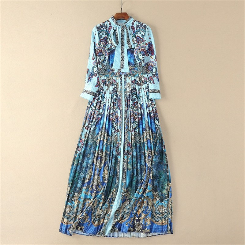 2018 Euramerican Spring New Fashion High End Elegant Lady Print Polyester Indie Folk Bow Collar Empire