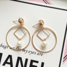 Fashion Hollow Out Circle Simulated Pearl Geometric Earrings For Women Accessories Big Earrings Female Jewelry Gift все цены