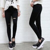 2017 Nova Moda Verão Jeans Rasgado Para As Mulheres Calça Jeans de Cintura Alta Sexy Plus Size Skinny Preto Da Menina Sólidos Calças Lápis Preto calças de Brim