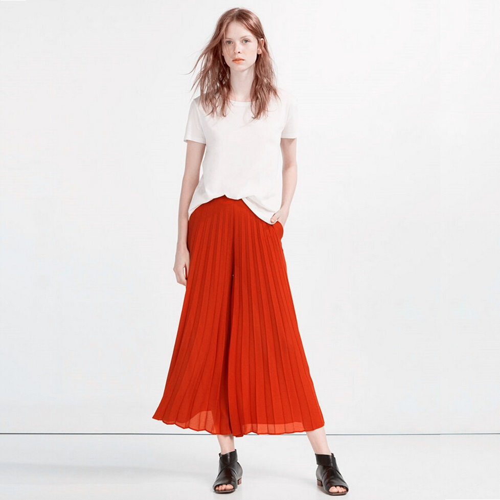 Luxury Pleated Pant Online SheIn Offers Grey Elastic Waist Pleated Pant