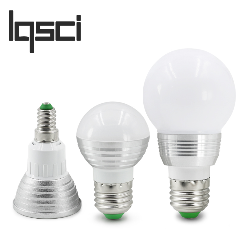 LQSCI E27 E14 LED RGB Bulb lamp AC110V 220V 3W 5W LED RGB Spot light dimmable magic Holiday lighting+IR Remote Control 16 colors agm rgb led bulb lamp night light 3w 10w e27 luminaria dimmer 16 colors changeable 24 keys remote for home holiday decoration