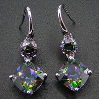 100 925 Sterling Silver Earring With Rainbow Mystic Topaz Drop Earrings Women Jewelry Earrings With CZ
