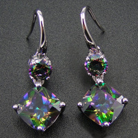 100 925 Sterling Silver Earring With Rainbow Mystic Topaz Drop Earrings Women Jewelry Earrings With CZ