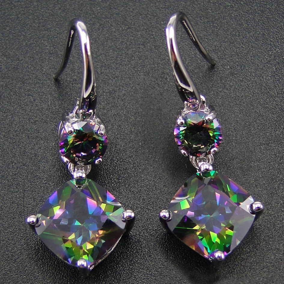 100% 925 Sterling Silver Earring With Rainbow Mystic Topaz Drop Earrings Women Jewelry Earrings with CZ Stone Earrings for Women