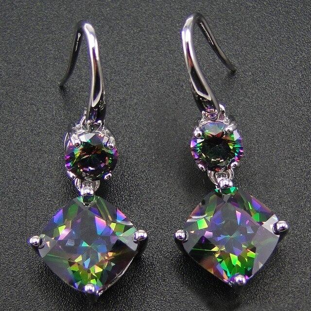 100 925 Sterling Silver Earring With Rainbow Mystic Topaz Drop Earrings Women Jewelry