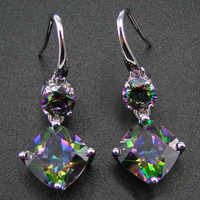 100% 925 Sterling Silver Earring With Rainbow Mystic Topaz Drop Earrings Women Jewelry Earrings with CZ Stone Earrings for Women