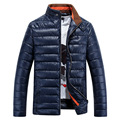 2016 New Men's Winter Jackets Men Casual Warm Parkas Male Thick PU Shiny Coats Stand Collor Slim Fit Brand Clothing,Y102E