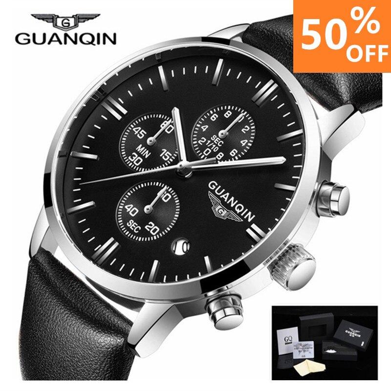 2018 для мужчин часы лучший бренд класса люкс GUANQIN Военная Униформа Спорт световой наручные часы хронограф Кожа Кварцевые relogio masculino
