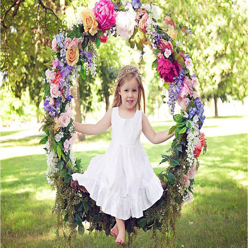2017 Satin Vintage Pageant Dresses for Girls Long Flower Girls Dresses A-Line Ruffle Mother Daughter Dresses For Girls Party girls dresses bell