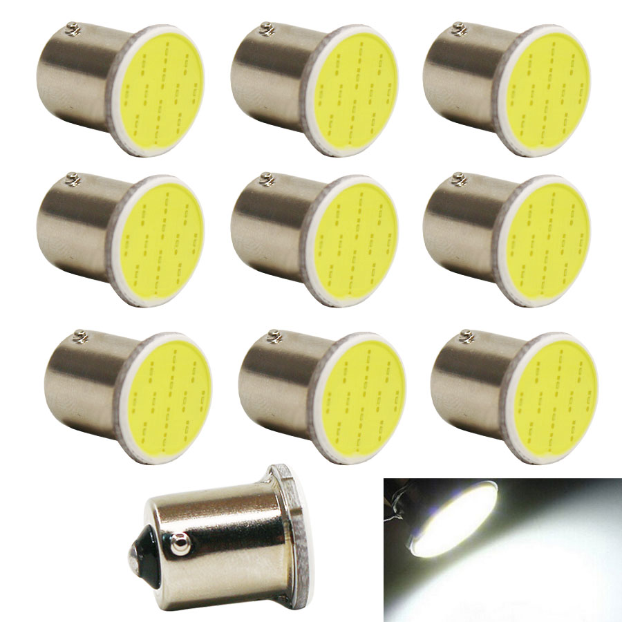 1156 Brake Signal auto lamp Fog Light for car COB P21W Led BA15S DC12V Bulbs External Lights Auto Car Parking Lamps White 10pcs