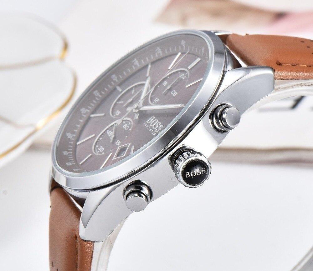 BOSS 2019 hommes montre en cuir automatique Date montres à Quartz marque de luxe étanche Sport montres à Quartz Relogio Masculino - 6