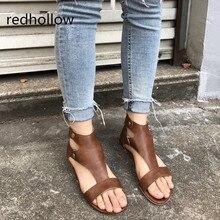 Fashion Womens Summer Sandals Flat Ankle Strap Casual Shoes Back Zipper Sandals Vintage Footwear Rome Style Plus Size 35-43 cross strap back zipper sandals