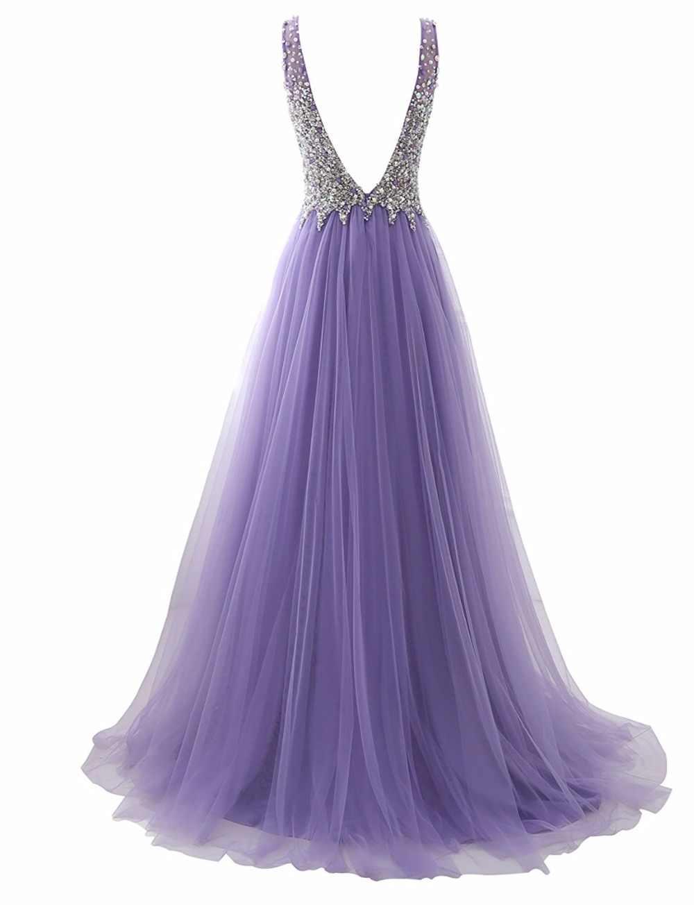 Фиолетовые Выпускные платья 2019 тюль бисером женское вечернее платье без спины платья без спинки трапециевидной формы с v-образным вырезом Vestidos De Graduacion