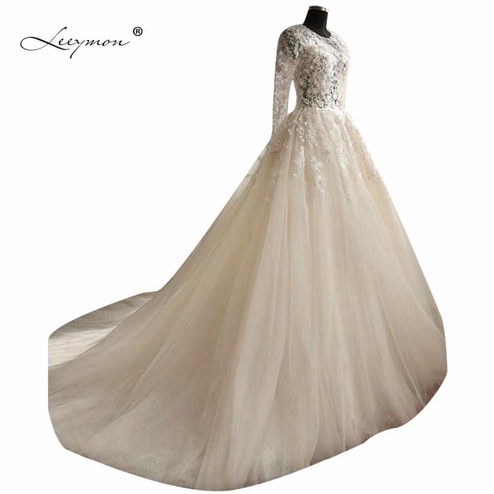 Leeymon Hot Robe De Mariage Dlouhé rukávy Krajka Svatební šaty 2019 Plesové šaty Květiny Křišťálové Svatební šaty Plus Velikost RW19  t