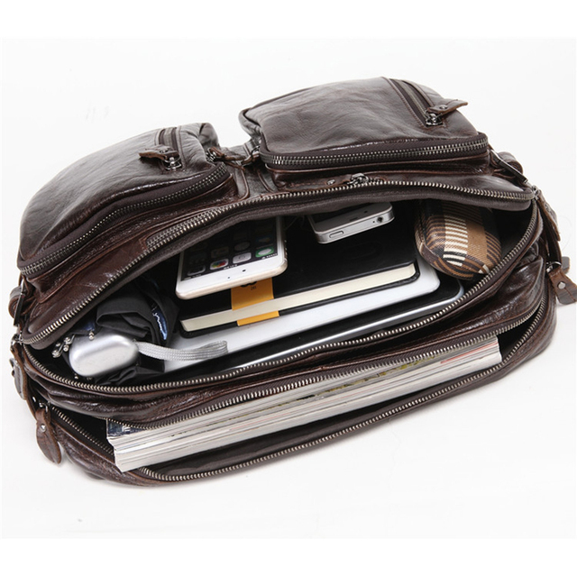 2019 New Natural Cowskin 100% Genuine Leather Men's multifunctional Briefcase Large Capacity Business Shoulder bag 17 Laptop Bag 4