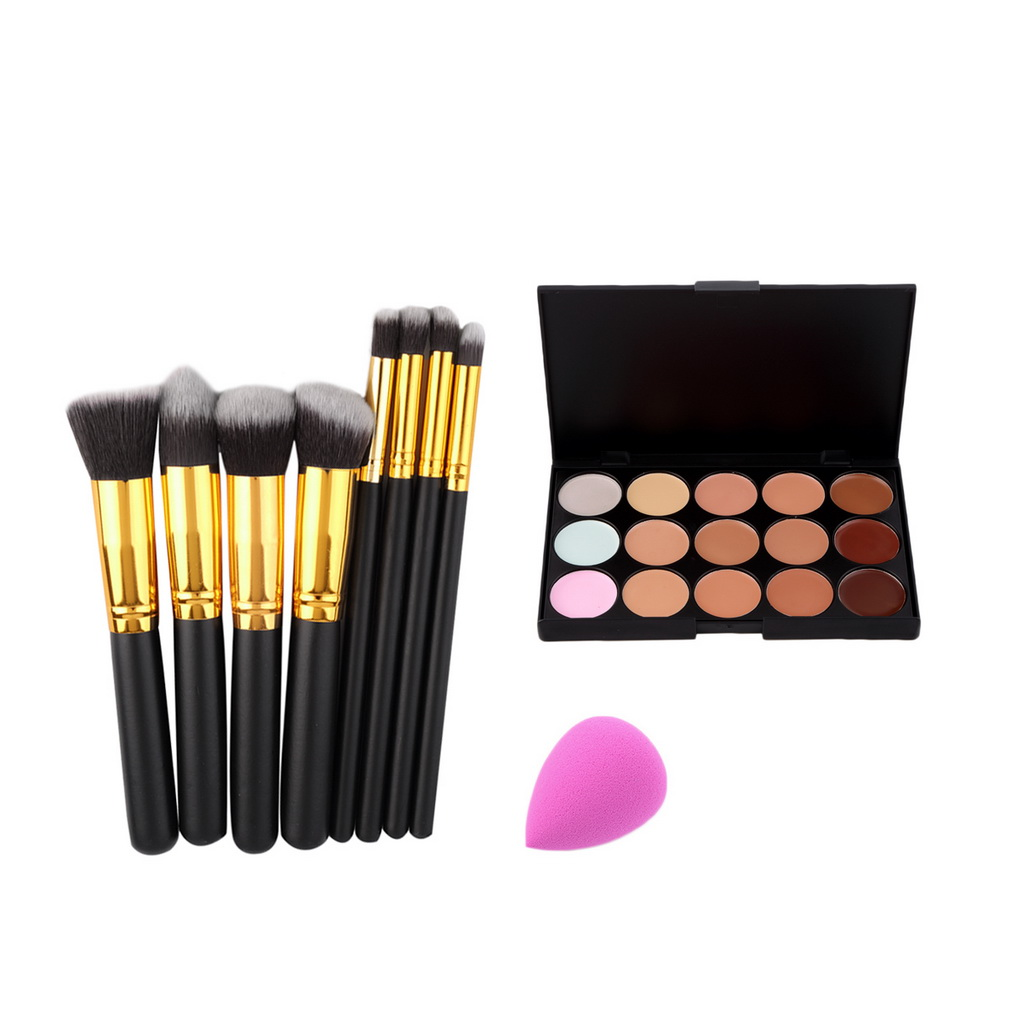 Paleta Concealer 15 Colour + 8pcs Make Up Kit Brushes + Contour - Grim - Foto 1