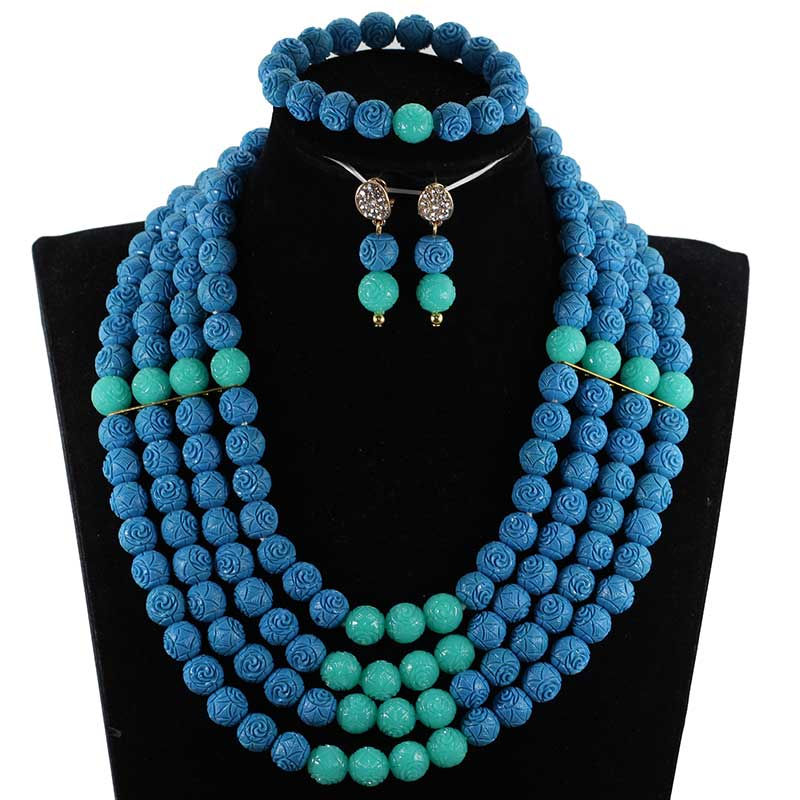 Mélange de mode bleu sarcelle et Aqua perles africaines ensemble de bijoux collier de Costume de corail artificiel ensemble pour les femmes cadeau de fête CNR007
