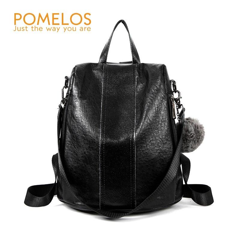 POMELOS Women Fashion Travel Anti Theft Backpack School Female Leather Softback Shoulder Back Pack Bag Rucksack Woman Backpacks