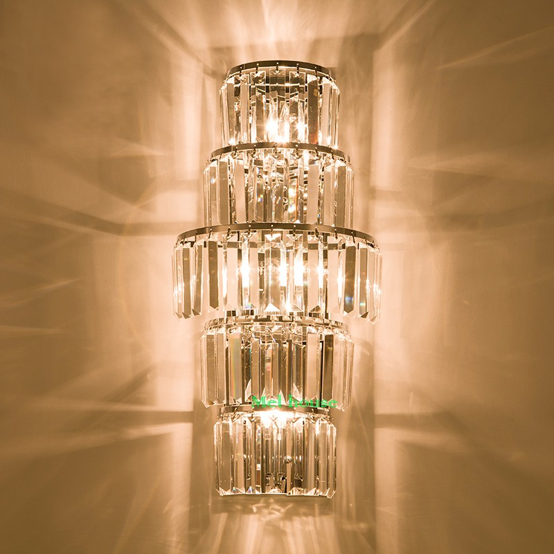 Project E14 Led Rectangular Vertical Wall Light Fixture Luminaire French Tall Crystal Wall Lamp
