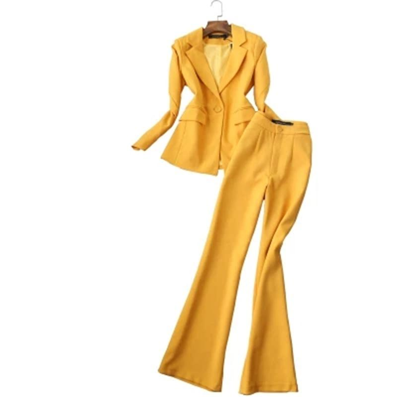 Women Pant Suits Female Autumn New fashion suit ladies suit jacket bell bottom pants two piece