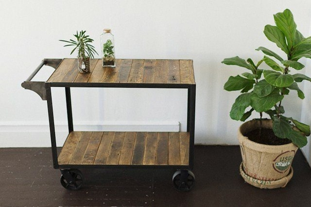 American Country Style Furniture Industry Loft Recycling Old Fir Antique Wooden Bar Cart Kitchen With Wheel