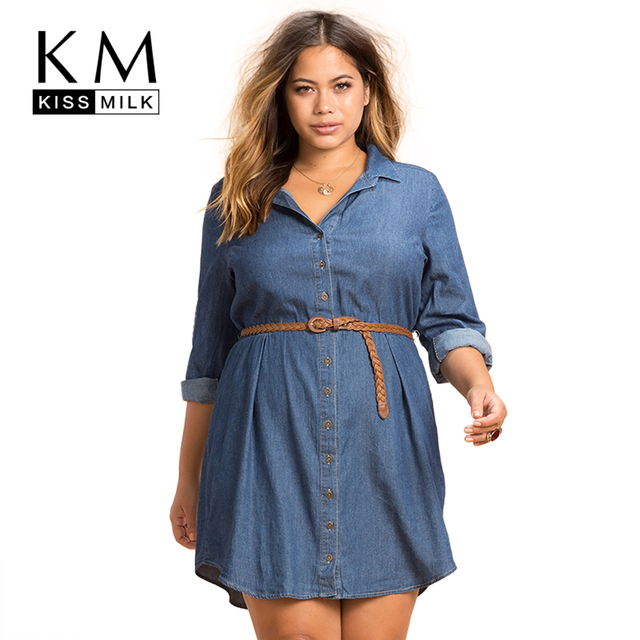 Kissmilk Plus Size New Fashion Women Clothing Casual Loose Dress Distressed Long Sleeve Big Size Demin Dress 3XL 4XL 5XL 6XL