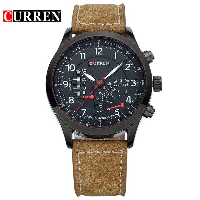 Curren 8152 del cuarzo de los hombres relojes de primeras marcas de lujo de los hombres relojes de pulsera hombres de cuero militar del relogio masculino reloj deportivo