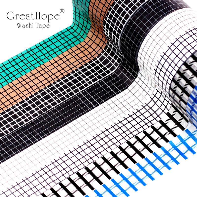 15mmx10m Black White Blue Grid Washi Tape Paper Set Planner Scrapbook Cute Cinta Adhesiva Decor Masking Tapes Office Stationery