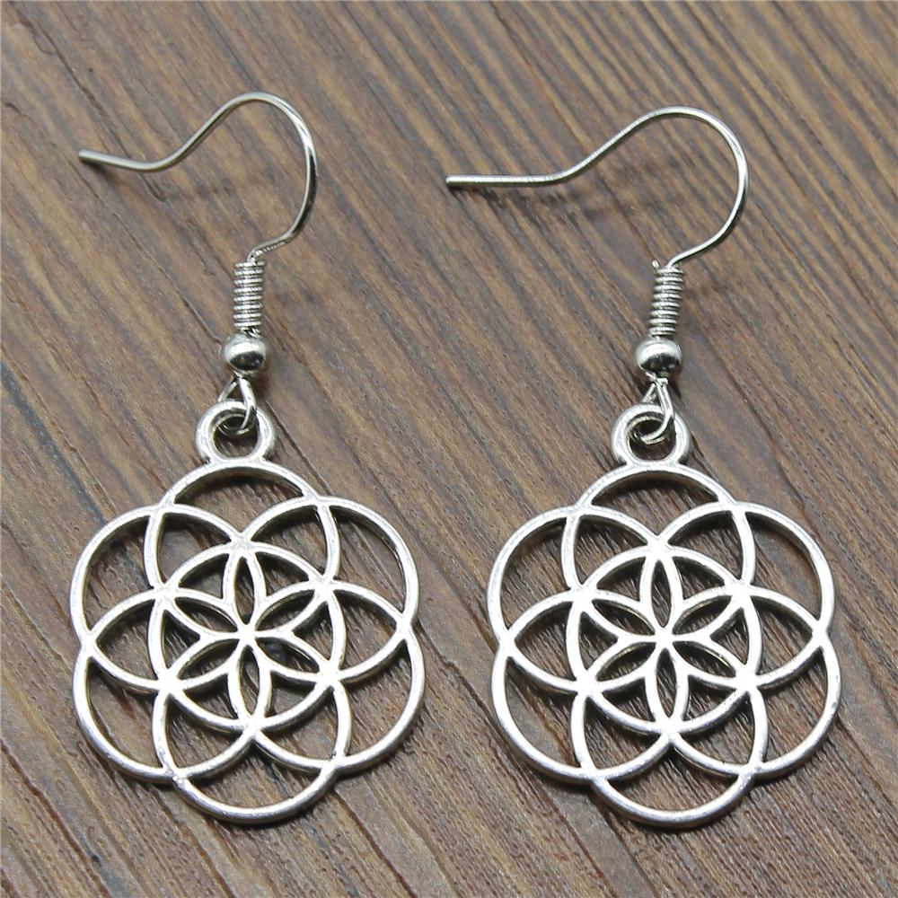 Fashion Handmade Simple Design 25x20mm Small Flower Of Life Charms Drop Earrings Jewelry Gift For Women