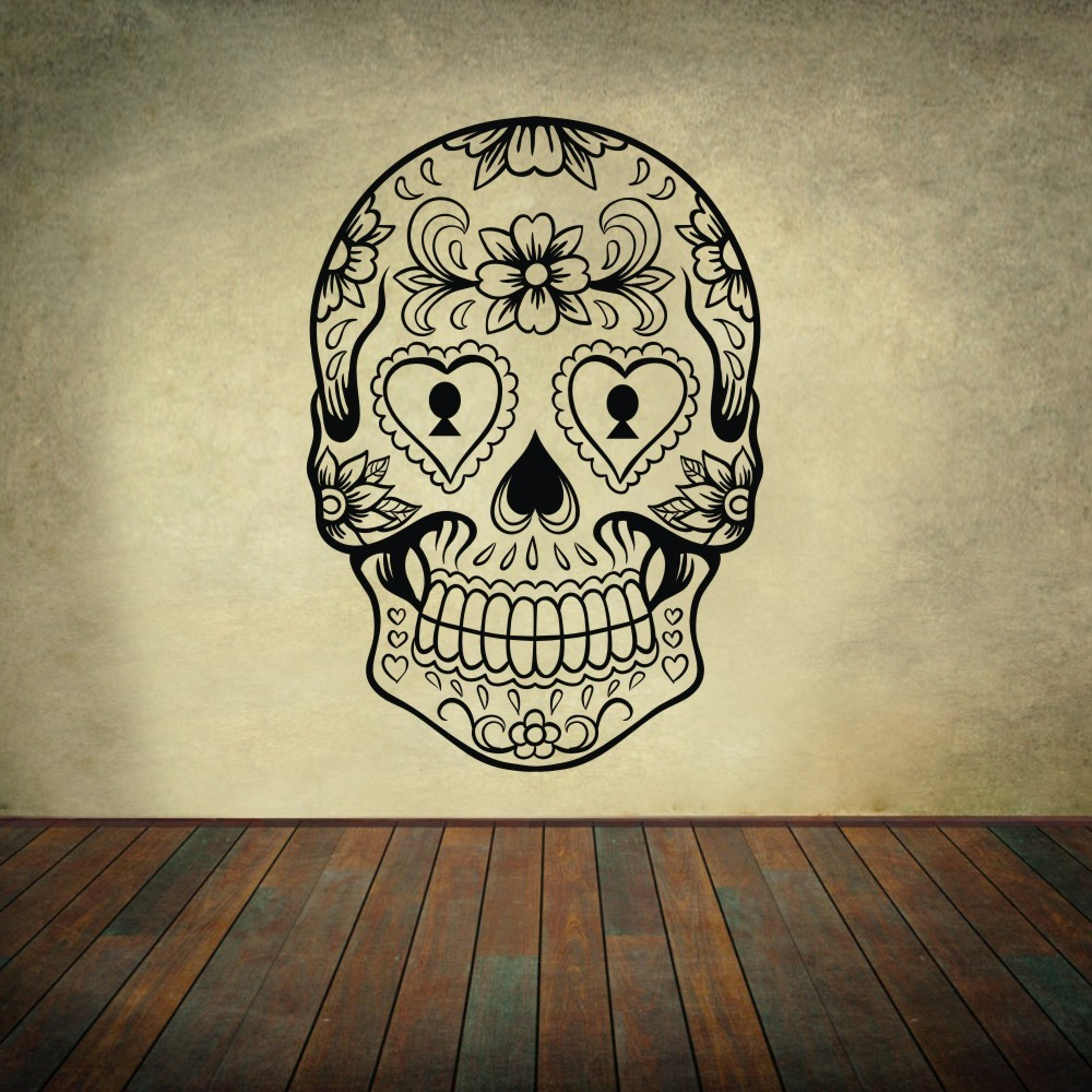 Sugar Skull mexico floral swirl home decoration Vinyl Wall Sticker ...