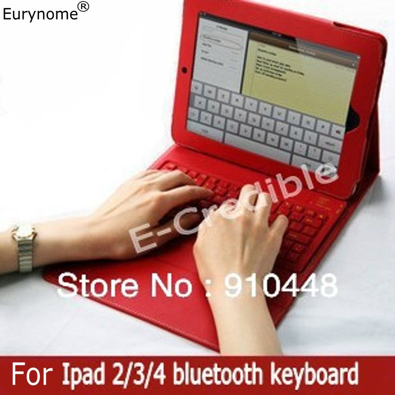 Free shipping Fashion wireless bluetooth keyboard with PU leather Stand cover case For ipad2 the ipad 2 3 4 keyboard case