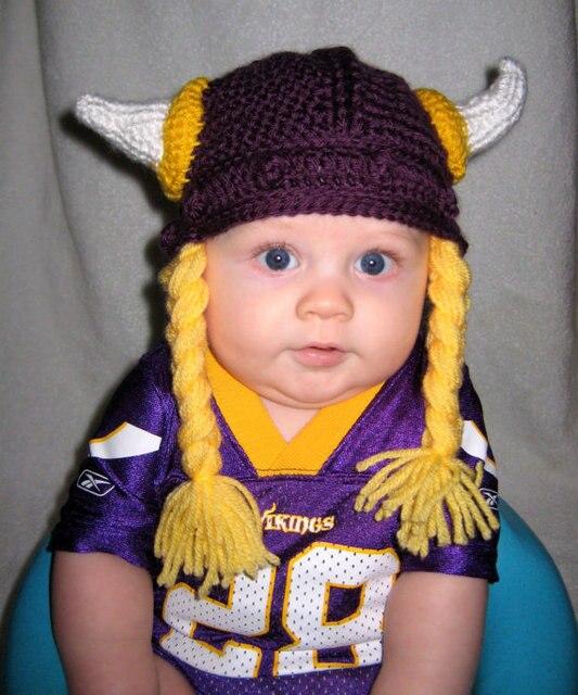 Crocheted Baby Merino Wool Boy Girl Viking Hat Knitted Merinos