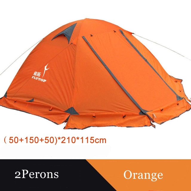 Flytop camping tent outdoor 2 people or 3perons double layer aluminum pole anti snow outdoor family tent with snow skirt 3