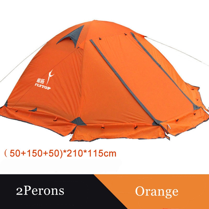 Tente de camping Flytop extérieure 2 personnes ou 3 perons double couche en aluminium pôle anti-neige tente familiale extérieure avec jupe de neige - 3
