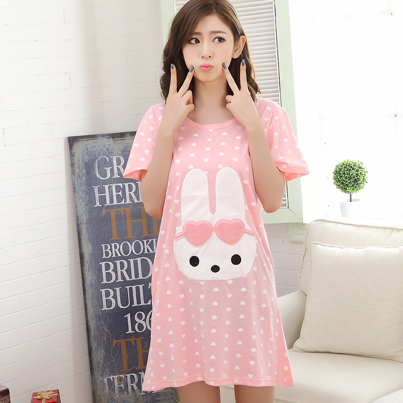Summer New Polka Dot   Sleepshirts   Women's   Nightgowns  &  Sleepshirts   Cartoon Nightdress Girl Sleepwear Pyjamas Women Lounge Homewear