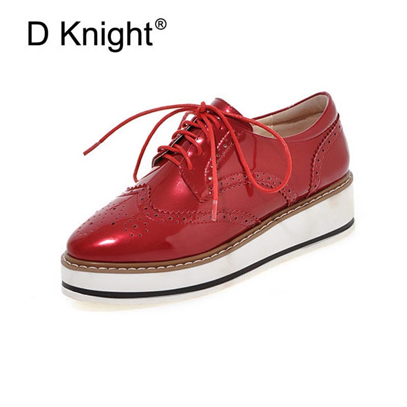 Ladies Casual Platform Wedges Women Brogue Oxfords Shoes Woman New Patent Leather Oxford Shoes For Women Black Red Silver White ladies casual platform wedges oxford shoes for women metallic pu cut outs women high heels summer brogue oxfords shoes woman