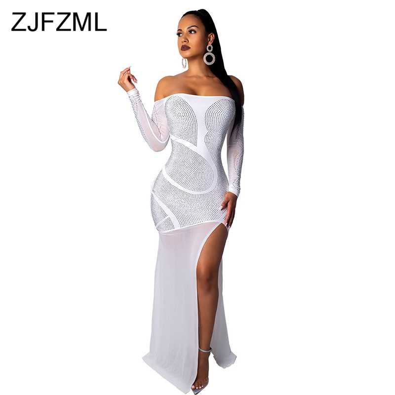 Glitter Rhinestone Sexy Party Dress Women Black Slash Neck Long Sleeve See  Through Dress Elegant White 9d6f0c9063f5