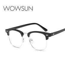 WOWSUN Men Radiation Protection Rivet Frame Eyeglasses Women Anti Blue Ray Brand Classic Co