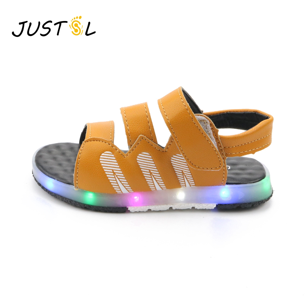 JUSTSL Childrens shoes 2017 summer new Handsome boy shoes Simple magic shoes Boy sandals