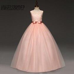 ANGELSBRIDEP Flower Girl Tule Vestidos Com Corpete de Renda Longo Vestido de Comunicação Para Prom Vestidos de Noite vestidos de comunion